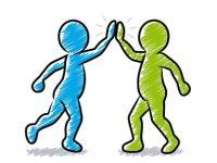 Zwei Strichmännchen beim High-Five / blau, grün / Schraffierte Vektor-Zeichnung
