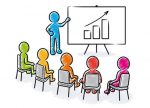 Business presentation: Speaker points to a flipchart with rising chart icon in front of sitting spectators / Hatched vector drawing